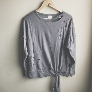 Abound Women's Gray Distressed Oversized Sweater